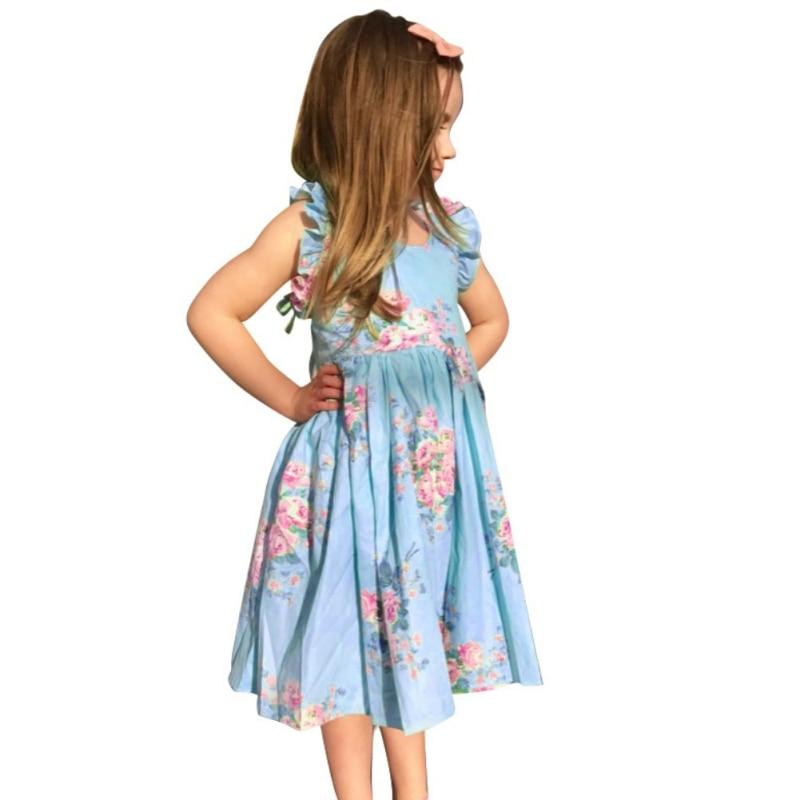 Girls Cotton Princess Dress Cinderella Summer Party Vestido Mini Apparel Pleated Floral Print Sleeveless Dresses вечернее платье mermaid dress vestido noiva 2015 w006 elie saab evening dress