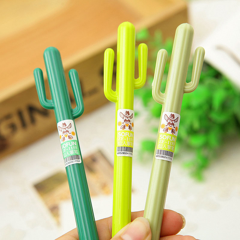 0.38mm Cute Kawaii Plastic Gel Pen Creative Cactus Pens For Kids Stationery Gift School Materials Free Shipping 2200 kawaii cartoon cat erasable pen cute dog gel pens for kids writing gift office school supplies free shipping 3931