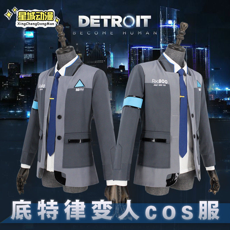 Detroit:Become Human Connor Cosplay RK800 Suits Jacket Coat Outfit Uniform Costume Carnival Outwear Shirt Blouse Tie New PS Game
