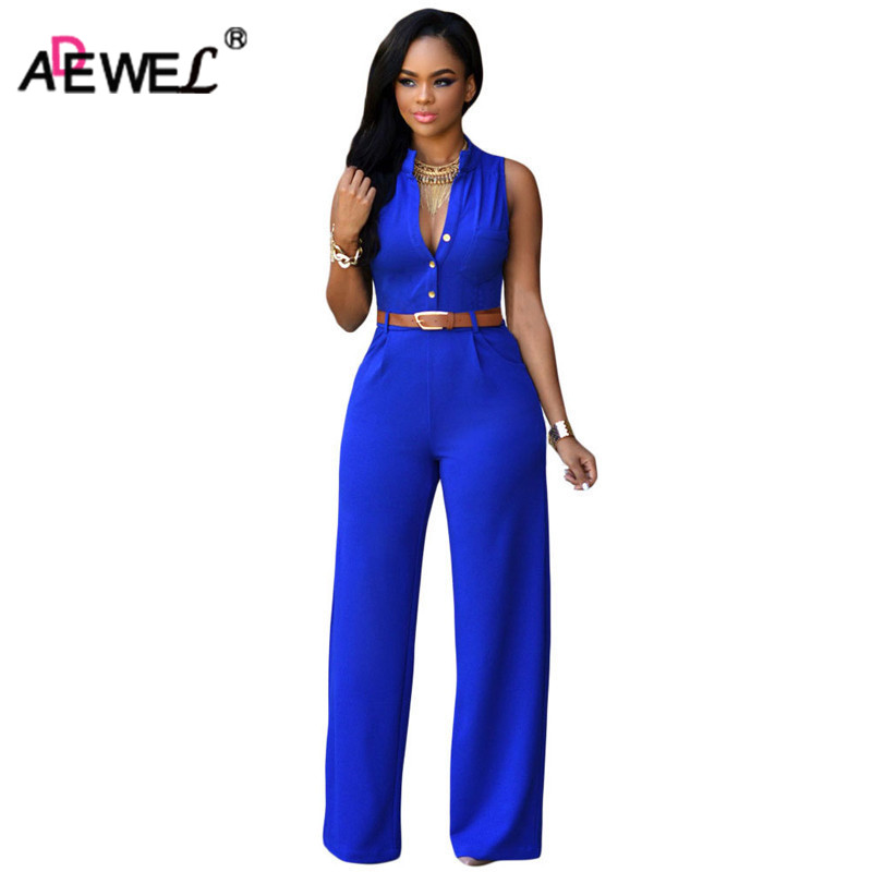 ADEWEL 2018 Summer Belt Waist Casual Long Women Rompers Stand Collar Elegant Jumpsuit Overalls Sexy Bodysuit Plus Size S-XXL