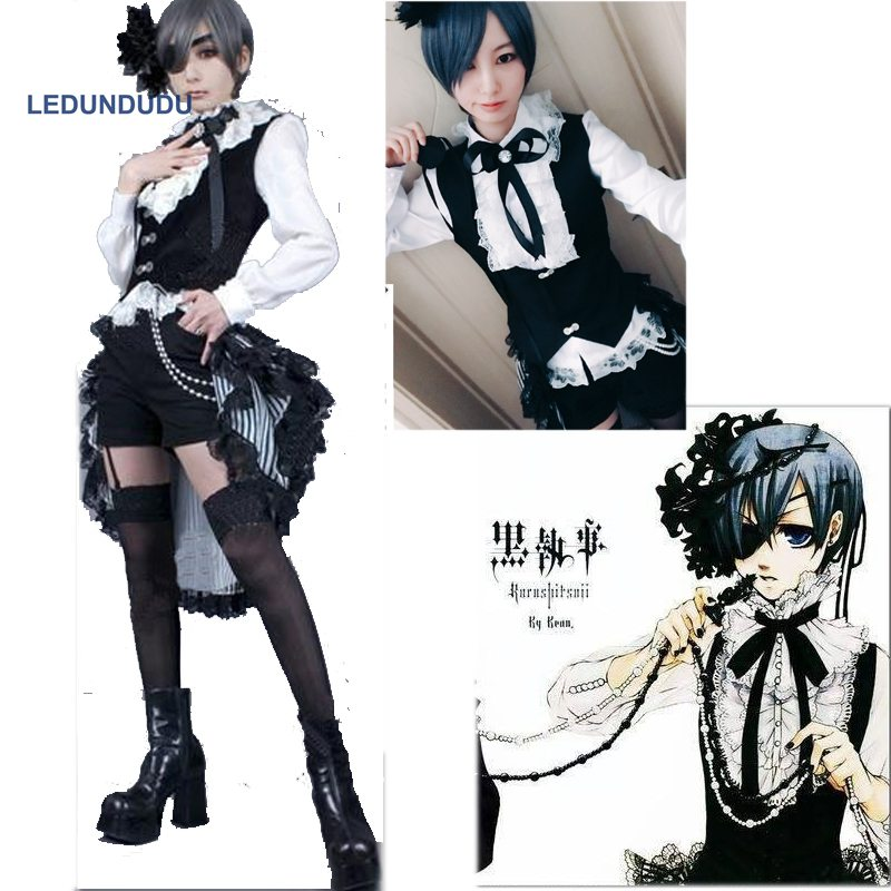 Anime Black Butler Ciel Phantomhive Book of Circus Uniform Suits Women Fancy Party Outfit Full set for Halloween Cosplay Costume