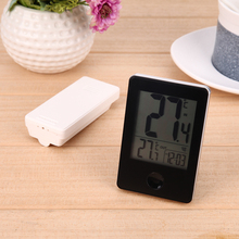 Discount! Wireless Weather Station Electronic Thermometer Digital Temperature Meter Gauge Wall Clock for Indoor Outdoor Home Use (Black)