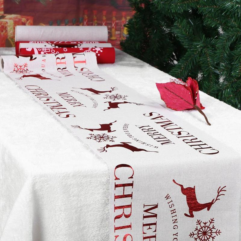 runners christmas table tablecloth xmas elk new year party dinner table decoration for home table cover party supplies - Decorated Christmas Tables Parties