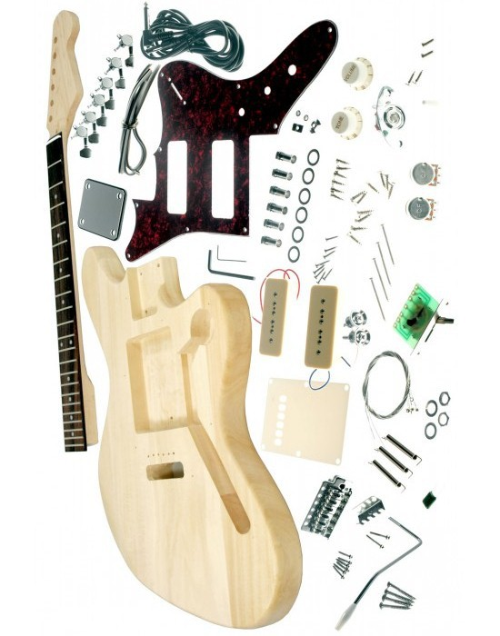 Kit guitare électrique f-jaguar, guitare non finie, guitare électrique bricolage avec micros P90 livraison gratuite