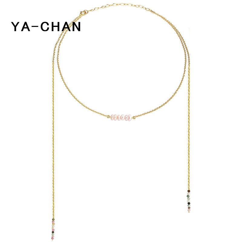 YA-CHAN 925 Sterling Silver Pearl Necklace For Women 18 K Gold Plated Tourmaline Stone Beads Pendant Layered Necklace Jewelry elegant rhinestoned bowknot three layered faux pearl necklace and bracelet for women