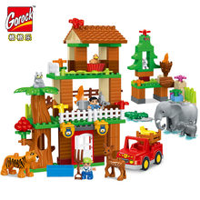 138pcs Tiger Deer Elephant Jungle Animal Building Blocks DIY Large Size Model Bricks Compatible With Duploe Kids Toys Gifts(China)