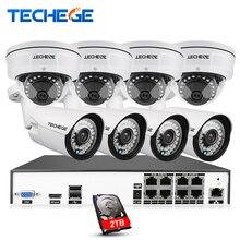 Techege H.265 8CH Sistema CCTV MP POE NVR 4.0MP Cámara IP Cámara Domo A Prueba de Vandalismo de Visión Nocturna Sistema de Video Vigilancia