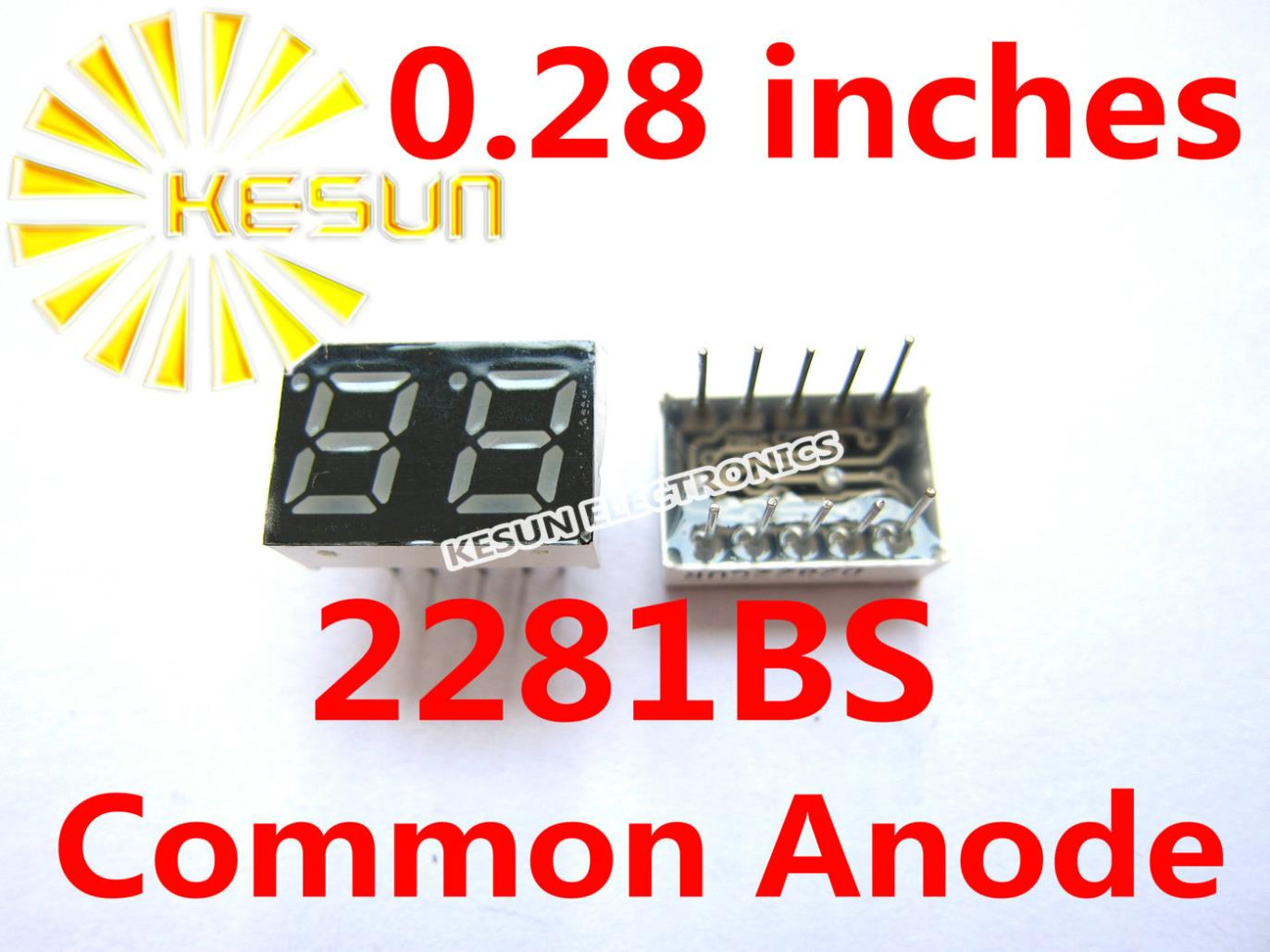100PCS X 0.28 Inches Red Common Anode/Cathode 2 Digital Tube 2281AS 2281BS LED Display Module
