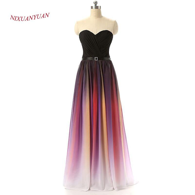 NIXUANYUAN Chiffon Long Party Dress 2017 Sweetheart A Line Prom Kjole - Spesielle anledninger kjoler - Bilde 3