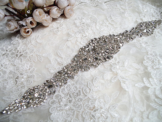 crystal rhinestone applique,stunning bling / bright applique for DIY bridal sash, headpiece, wedding applique, gown belt, RAE046