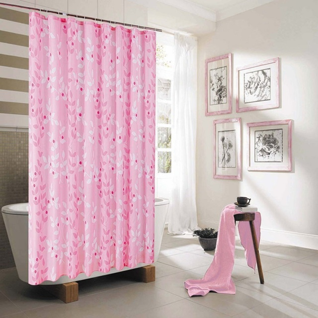 Polyester Shower Curtain Hotel Pink Floral Japan Waterfull Bath ...