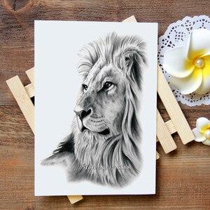 Водонепроницаемая Временная тату-наклейка с изображением Льва, Переводная флеш-татуировка, поддельная татуировка для женщин, мужчин и дете...