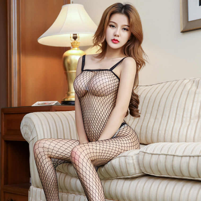 Sexy Lace Neck Fishnet Body Stocking Sexy Lingerie Nets Clothings Sex Costumes Mesh Fishnet Open Crotch Stocking 1 PC