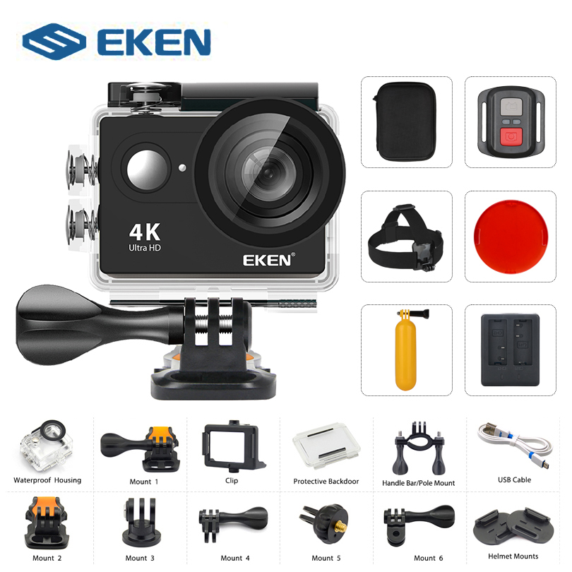 Action camera EKEN H9 / H9R 4K 30FPS Ultra HD WiFi 2.0 170D Underwater Waterproof