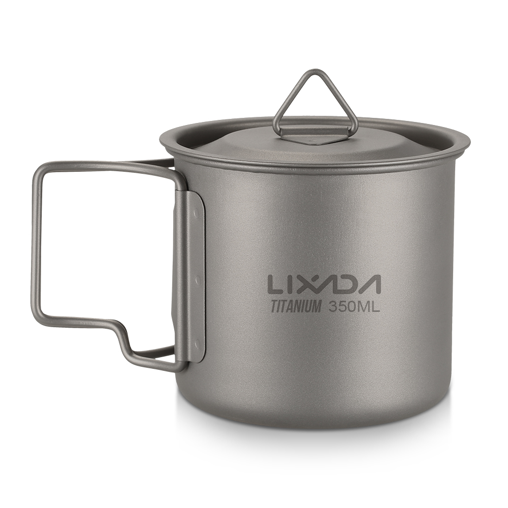 Lixada Outdoor Titanium Cup Mug Pots Portable Cup Mug Camping Picnic Water Cup Tableware Coffee Tea Pot 300/350/420/550/650/750