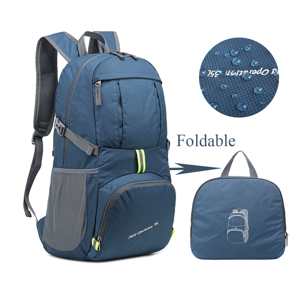 Foldable Waterproof Backpack 35L Lightweight Portable Rucksack Outdoor Large Nylon Pack For Camping Traveling Hiking