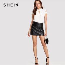 SHEIN Workwear Elegant Office Lady  Short Sleeve V Cut Neck Contrast Lace Sleeve Womens Tops and Blouses 2018 Summer Blouse