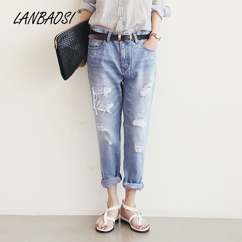 LANBAOSI Fashion Spring Summer Women s Torn Jeans Harem Pants Casual Loose Boyfriends Ripped Hole Vintage