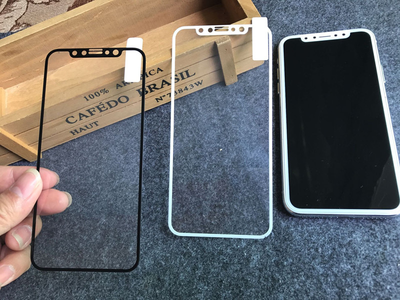 5.8-6.5 For IPhone11 X/XS XR XSMAX Simple White Black Carbon Fiber Front Screen 9H Tempered Glass Film Protector Protection