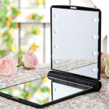 8 LED Lights Women Makeup Mirror Cosmetic Folding Portable Pocket Hand Mirror with Lamps Make up Tool wholesale folding desk type led cosmetic mirror portable makeup mirror with support for dressers