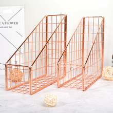 Scandinavian Rose Gold Metal Storage Basket Nordic Book Iron Desk Organizer Decor Home Office