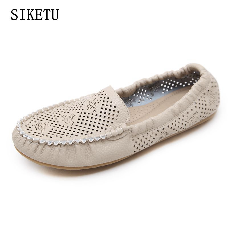 SIKETU 2017 Summer New Fashion Women flat shoes Woman Genuine Leather Plus Size Shoes Female Cut-outs Leisure Casual Shoes 35-41 2017 summer new women fashion leather nurse teacher flats moccasins comfortable woman shoes cut outs leisure flat woman casual s