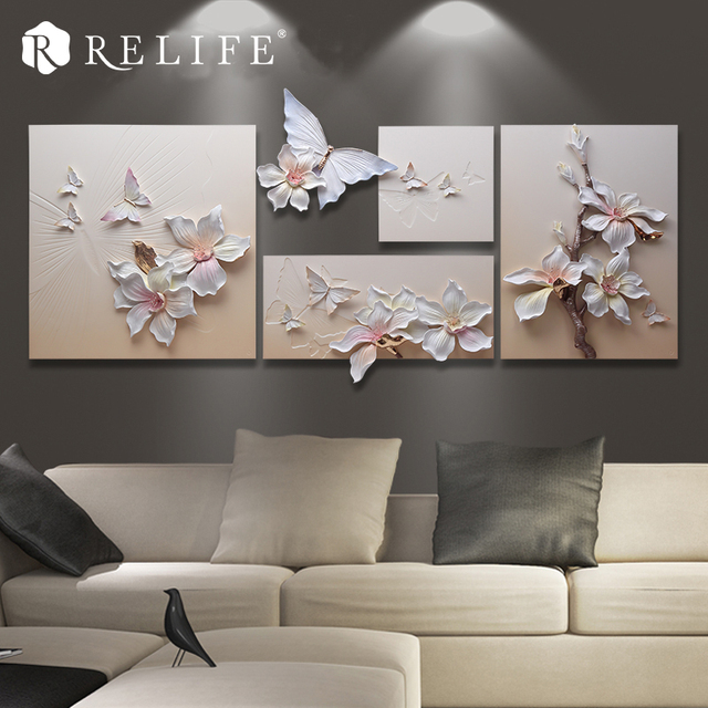 Handpainted Frameless Magnolia and Butterfly Wall Art Paintings for Living Room