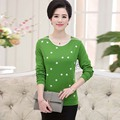 Women's knitting middle-aged women's clothing printing render unlined upper garment to mom    PQML-9951TX