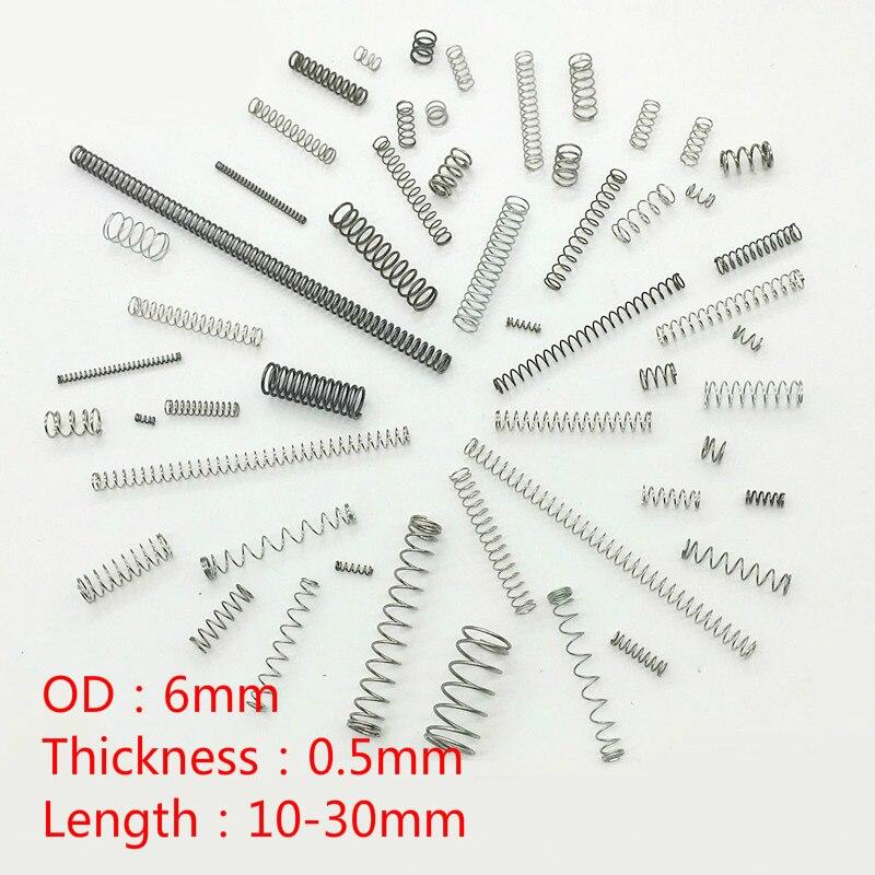 304 Acier Inoxydable Compression Ressort Réparation Printemps Costume Retour Ressort 0.5mm Fil Ressort Diamètre Extérieur 6mm 100 Pièces 100% D'Origine