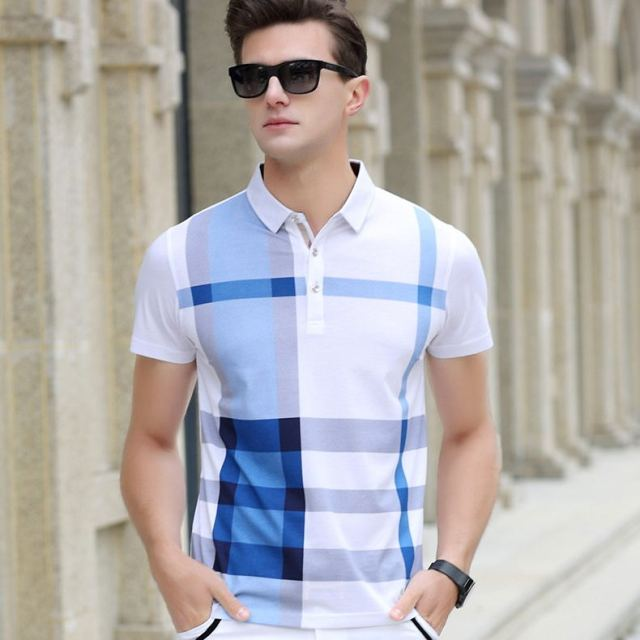 2020 New arrival brand clothing polo shirt man cotton short sleeve plaid breathable business casual homme camisa plus size XXXL
