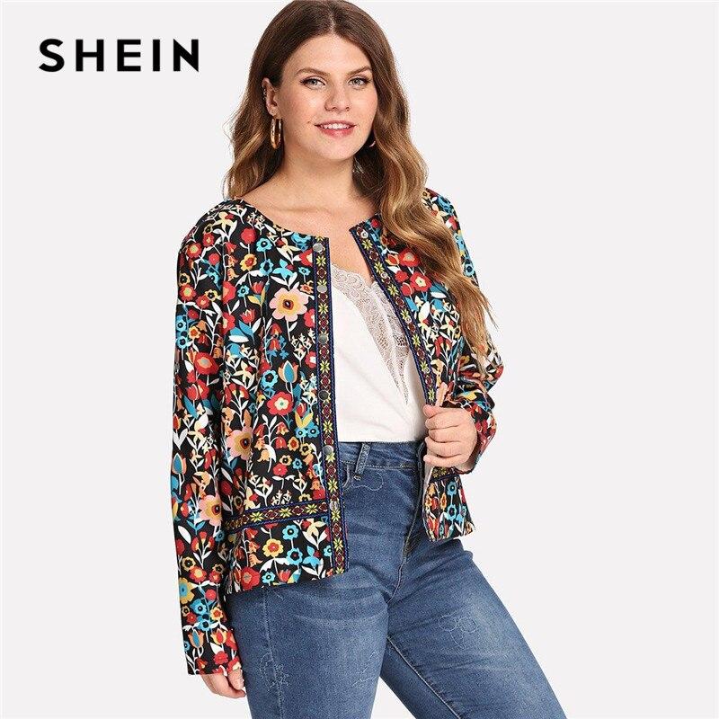 SHEIN Multicolor de estampado Floral Botón de cierre Plus tamaño mujeres Streetwear chaqueta contraste cinta frente abierto botánico abrigo