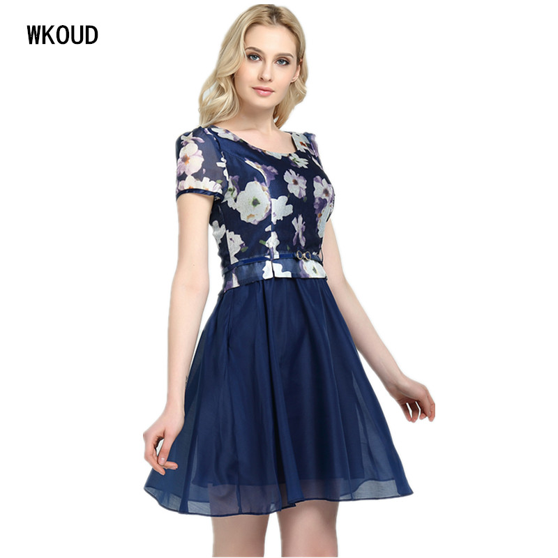 Wkoud Vestidos De Fiesta Voile 2019 nyári ruha nők két réteg labdák nőtt középhosszú ruhák öv meleg női ruha K8001