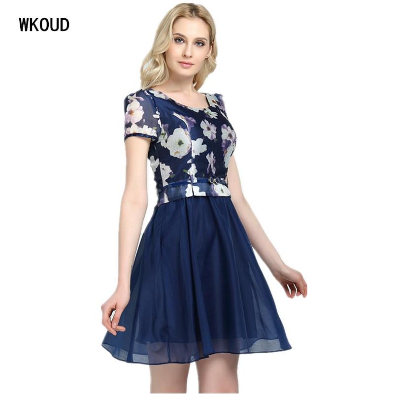 Wkoud vestidos دي فييستا الفوال 2019 الصيف اللباس النساء طبقتان الكرة نمت فساتين منتصف طويلة مع حزام الساخنة الإناث اللباس K8001