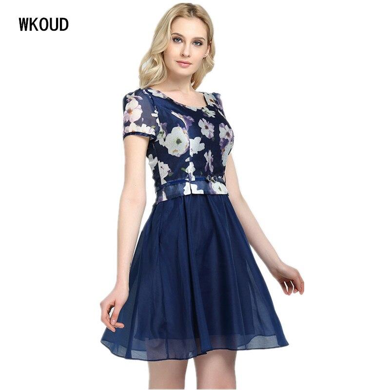 Wkoud Vestidos De Fiesta Voile 2019 Summer Dress Women Two Layers Ball Grown Mid-long Dresses With Belt Hot Female Dress K8001