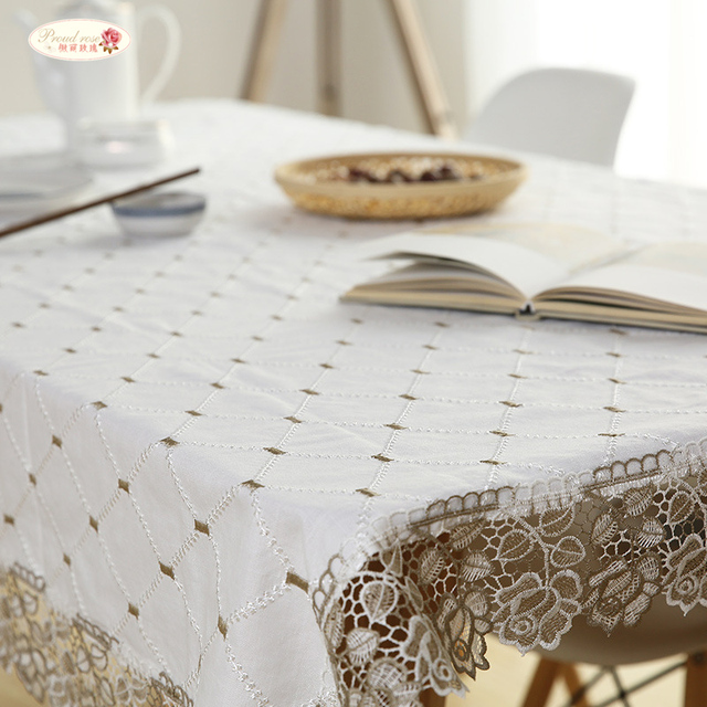 Proud Rose White Lace Table Cloth Embroidered Tablecloths Lace Table Runner  Household Tea Table Cloth Table