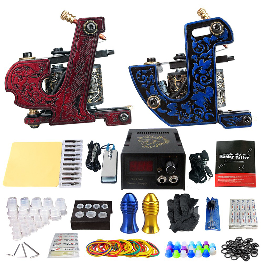 Red Blue Tattoo Kit 2Pcs Rorary Tattoo Machine Tattoo Power Supply Footswitch Grip Practice Needles Skin Cleaning Tools kit black red yellow blue skull design stainless steel tattoo foot pedal switch footswitch power supply