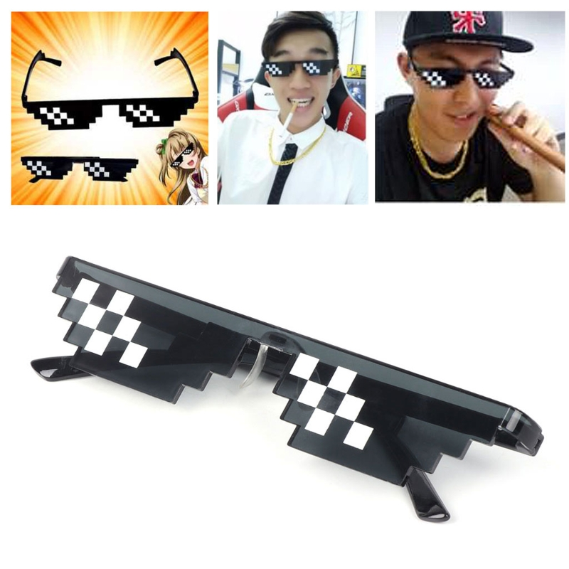 Thug Life Glasses Deal With It Glasses Pixel Women Men Black Mosaic Sunglasses