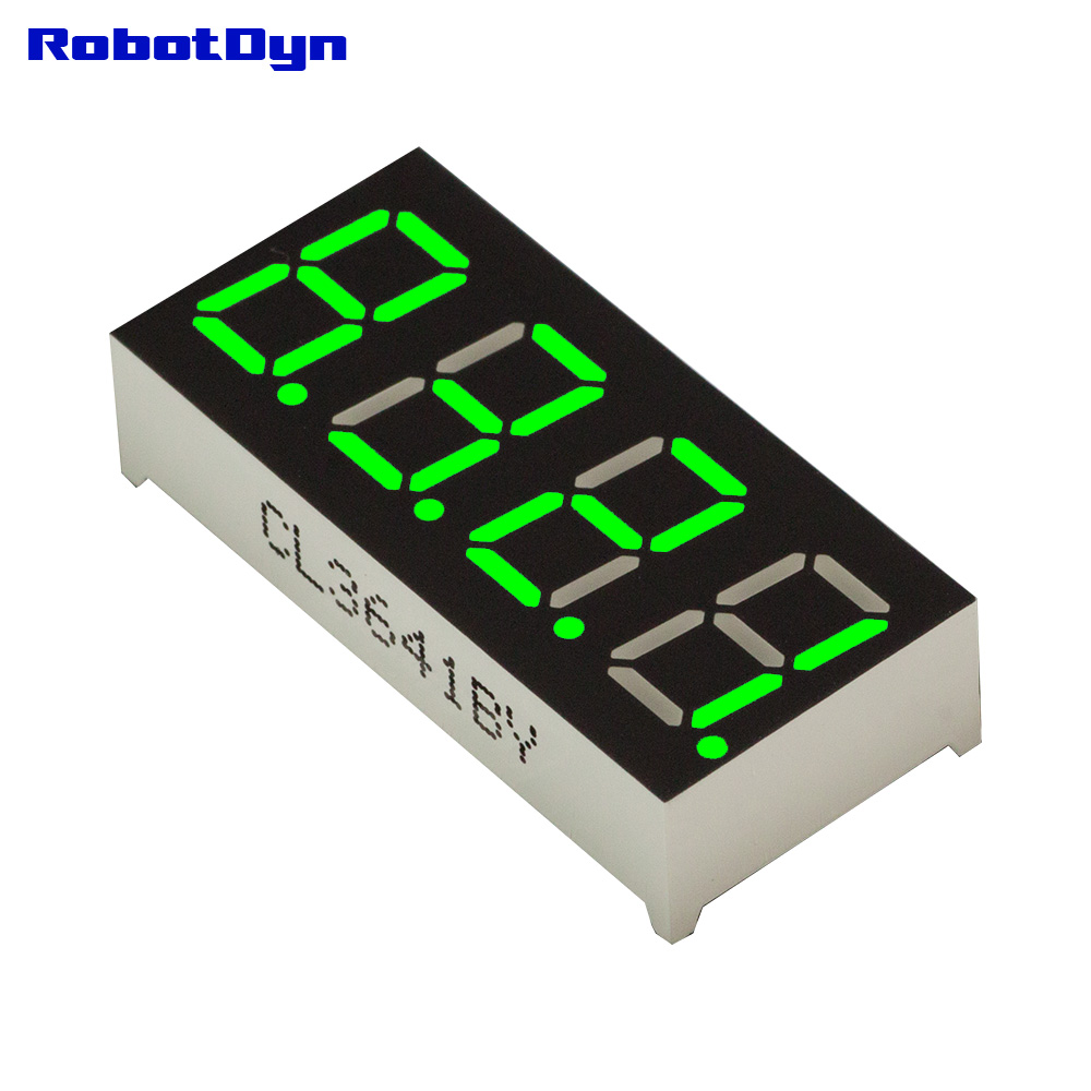 5pcs = 4-Digit 7-segments LED Display tube, decimal point, GREEN, disp. size 50x19mm, 0.56