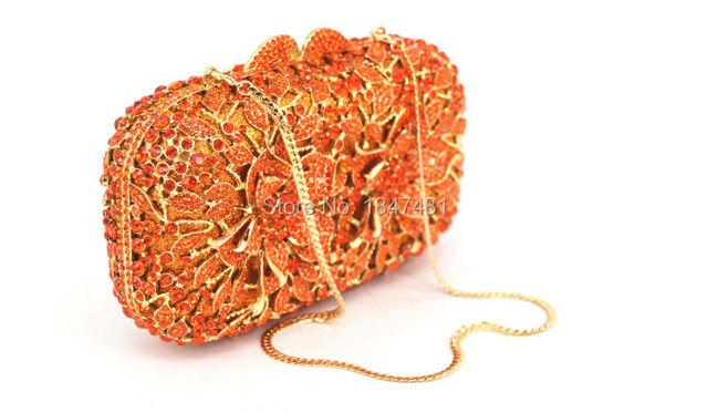 newest Orange Crystal Clutch Bag Flower Female Evening Bag Diamond Studded Handbags Women Wedding Bridal Party Prom Purse SC437
