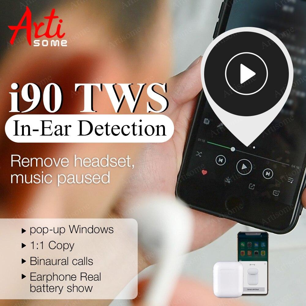 I90 TWS détection intra-auriculaire Pop up 1:1 écouteurs d'origine pour téléphone portable PK W1 écouteurs à puce i80 i10 i20 i30 i60 TWS PK casque Airdorts