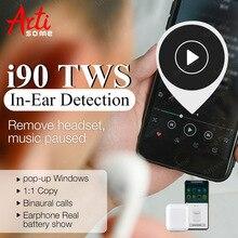 I90 TWS в ухо обнаружения всплывающие 1:1 Оригинальные Наушники Hearphone PK W1 чип наушники i80 i10 i20 i30 i60 TWS PK Airdorts гарнитура