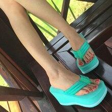 Женские Пляжные сланцы soild танкетке обувь на платформе летние шлепанцы женская обувь высокий каблук пляжные сандалии на высоком толстом pantufas