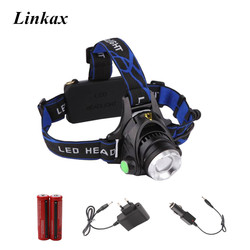 Zoomable XML-T6 LED Head Light Head Lamp Rechargeable Headlight Headlamp 3-Modes 5000LM 18650 Head Flashlight for Outdoor Sport