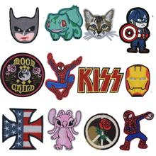 New Spider Kiss Cross Cassette Tape Pikachu Iron on For Clothes Superhero Cat Patches for Kids Men Women T-shirt Decoration(China)