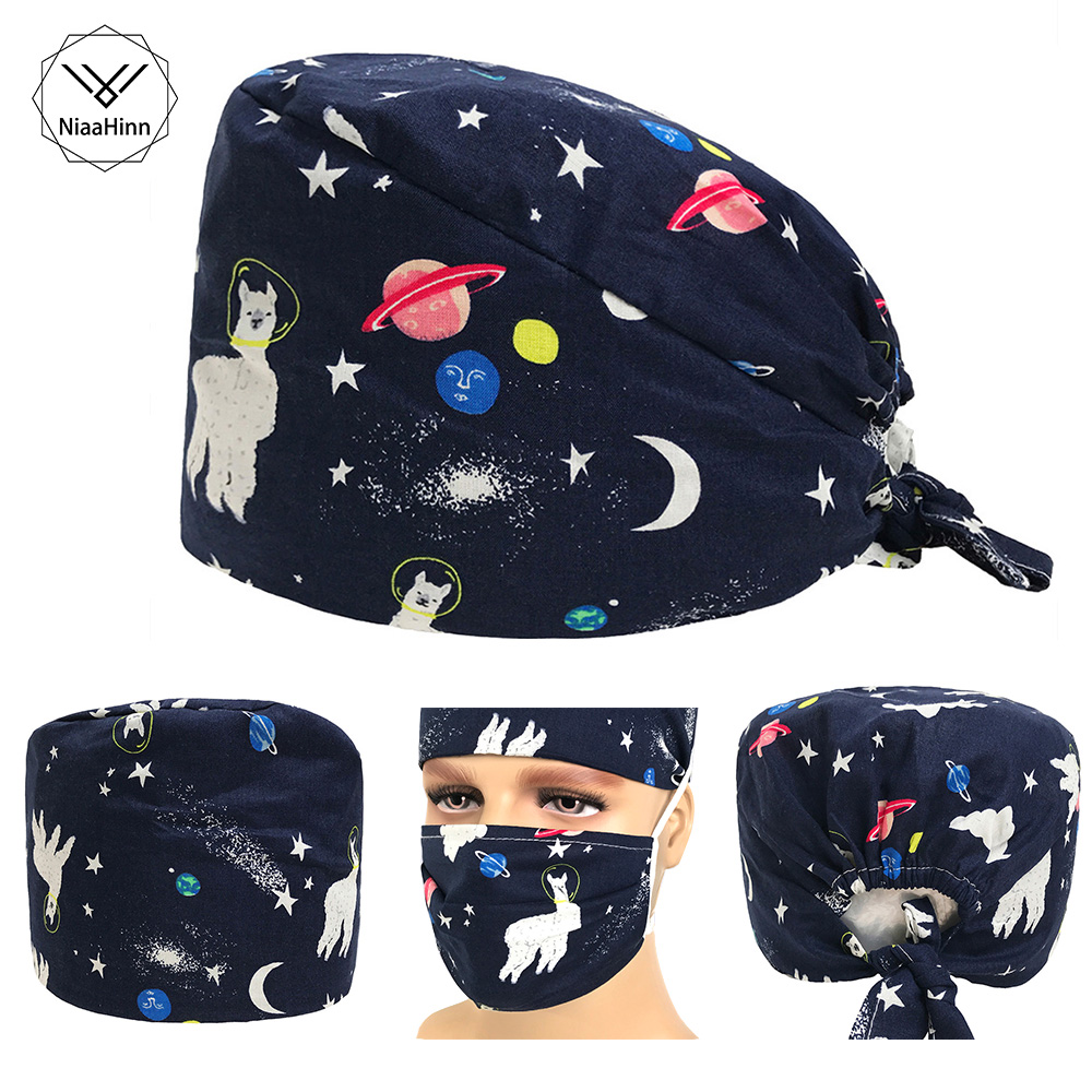 Cute Alpaca Print Medical Surgical Scrub Cap Hospital Doctor Dentist Laboratory Pharmacy Beauty Salon Men Women Work Wear Hats