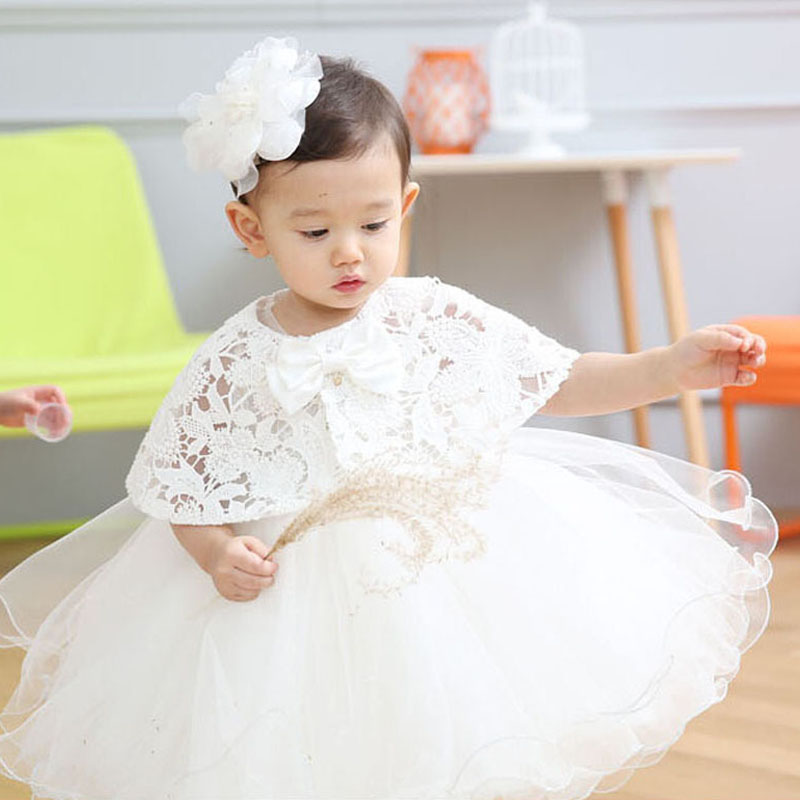 1 Year Baby Dress Newborn Baby Girl Dresses + Shawl with Cap Super Back Bow Belt Baby Christening Gowns Vestido Infantil Menina