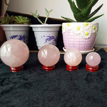 30-60MM 100% natural rose quartz crystal ball home decoration Energy stone no added pigment