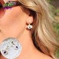 2015 New Top Trending Vintage Two Ways Evil Blue Eyes Sexy Red Lip Faux Pearls Jewelry Studs Earrings For Women Ear Jacket CE082