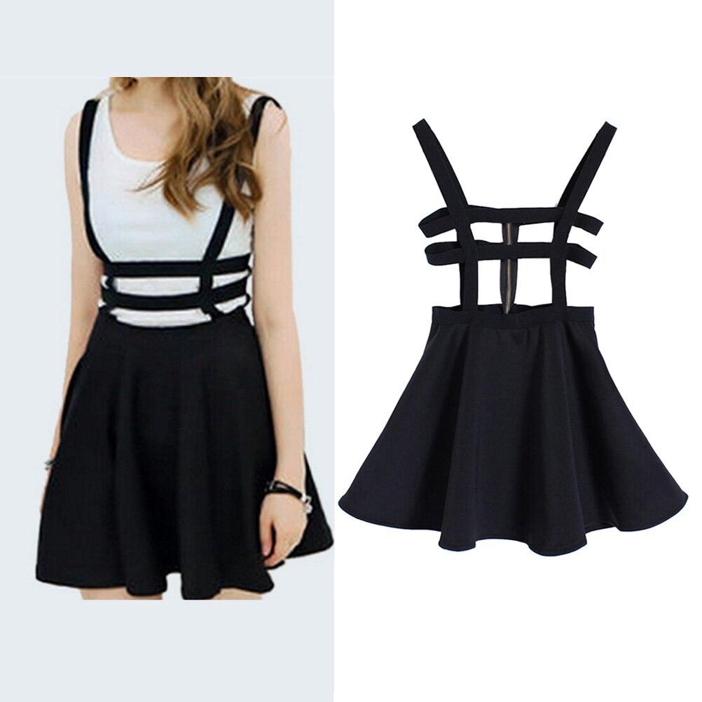 Preppy Back Zipper Hollow Out Dresses Style Black Suspender Dresses Women Pleated Short Braces Dress