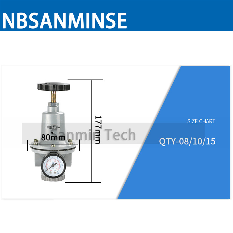 NBSANMINSE Air Regulator QTY 1 4 3 8 3 4 1 1 1 4 1 1 2 2in Big Port size Regulator Valve Air Compressor Parts in Pneumatic Parts from Home Improvement